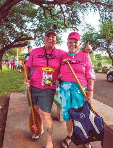 Lahaina – Michele Triplett (left) and Pat Lynch participate in Pacific Cancer Foundation's recent Paddle for Life event in which cancer survivors and supporters journeyed from Lahaina to Lanai; photo by Jeanna Thacke.