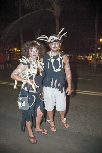 Beth Laviriere (left) and Wayne Temple of Kihei from last year's Halloween in Lahaina • Monday; photo by The Maui News / Terrie Eliker.