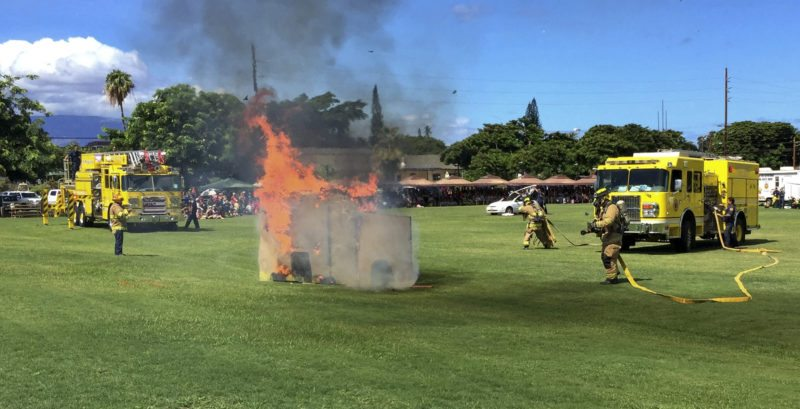 There will be a Fire Prevention Week demonstration at Keopuolani Park on Friday morning. A similar event was held in Lahaina on Sept. 30. It featured firefighters putting out blazes. Maui Fire Department photo