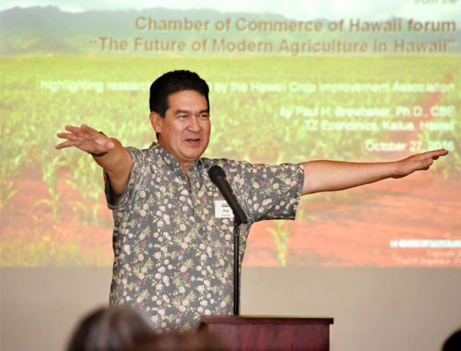 Economist Paul Brewbaker speaks about the viability of Hawaii agriculture Thursday during a Grassroot Institute of Hawaii presentation at the Maui Country Club in Spreckelsville. He told the group that he doesn't see the point of Gov. David Ige's initiative to double the state food production by 2030. The Maui News / MATTHEW THAYER photo