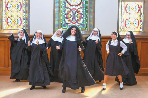 "Tahiti Cabrinha (from left), Taylor Takatani, Hiwa Greig, Kela Rothstein, Camille Erdman, Jena Mukai and Caitlyn Campbell star in Seabury Hall's ""Sister Act: A Divine Musical Comedy."" JACK GRACE photo"