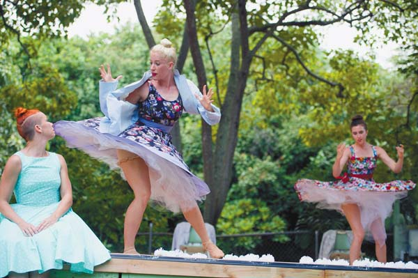 Nicole Yezzi (from left) Hallie Hunt and Nicole Humphrey perform with Adaptations Dance Theater. TRISH BARKER photo