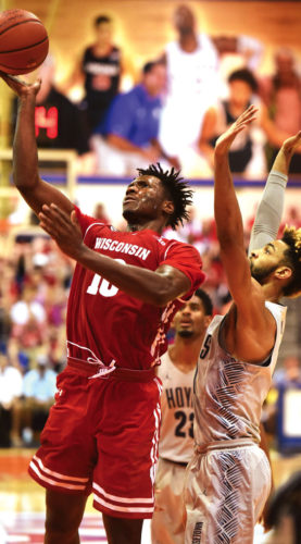 Nigel Hayes, shown playing for Wisconsin on Tuesday, has offered public comments on multiple social issues. The Maui News / MATTHEW THAYER photo