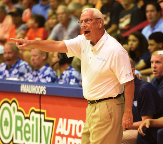 Roy Williams coaches North Carolina to a victory over Oklahoma State on Tuesday at the Lahaina Civic Center in the Maui Jim Maui Invitational semifinal round. The Maui News / MATTHEW THAYER photo