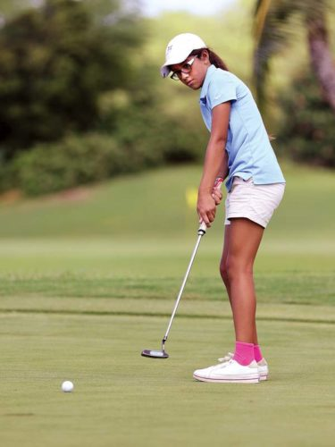Ariya Soldwisch, 11, of Lahaina putts on the ninth hole during the first round of the Michelle Wie HSJGA Tournament of Champions on Saturday at the Wailea Emerald Course. The final round is set for today.  The Maui News / CHRIS SUGIDONO photo