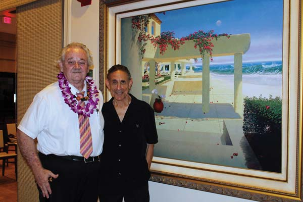 Artist Loren D. Adams (left) and Maui fine art representative Michael Dawson at Kahili Restaurant in Waikapu • Today, photo by Carla Tracy.