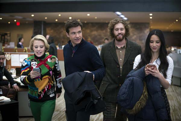 "Kate McKinnon (from left), Jason Bateman, T.J. Miller and Olivia Munn star in ""Office Christmas Party."" Paramount Pictures photo via AP"