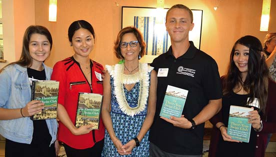 "Isabella ""Ela"" Ramirez (from left), Derae Shibata, author Julie Checkoway, Tyler Pamplin and Akane McCann are shown at the Nov. 7 event at University of Hawaii Maui College.   MARC ANTOSCH / University of Hawaii Maui College photo"