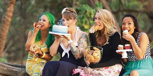 Madame Donut (from left) of Donut Dynamite, Betty McDonald of B3 — A Beach Bunny Bakery, Mitzi Toro of The Maui Cookie Lady and Jennilin Alcain of Cupcake Ladies Catering Co. will be selling their creations during a charity event at the Maui Mall on Dec. 18.   Anna Kim Photography photo