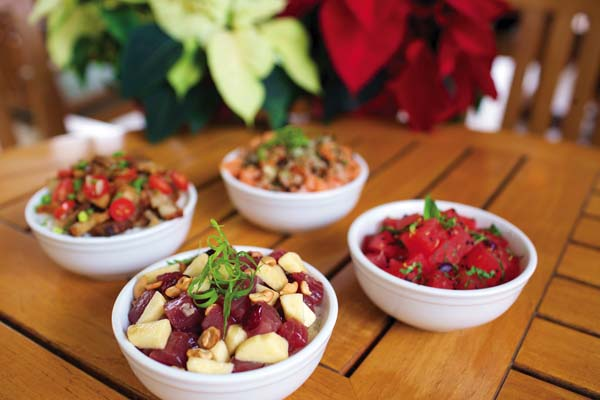 Savor a different creation each day during the 12 Days of Poke at the new Auntie's Kitchen poolside at the Westin Ka'anapali Ocean Resort Villas now through Dec. 25. These fun poke dishes are add-ons to the regular menu. Westin KOR photo
