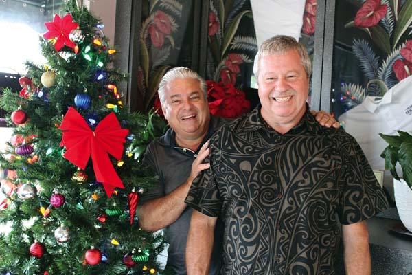 Owner Marco Defanis (from left) and his new General Manager Dan Egnatshick stand in the foyer.  The Maui News / CARLA TRACY photo