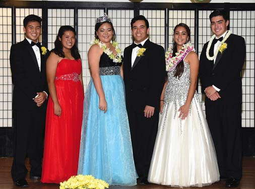 The court of the 64th Chrysanthemum Festival included Princess Renee Matsuda (from left) and escort Tyler John Cup Choy, Queen Alexa Nagai and escort Ian Martins, and Princess Jennea Nagura and escort Austin Phillips.  Nagamine Photo Studio photo