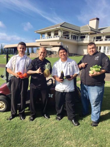 Plantation House morning manager Andreas Berry (from left) Executive Chef Jojo Vasquez, and chefs Gemsley Balagso and Sonny Balisco gear up to cook foods for tournament pass holders Jan. 5 to 8 daytime and for the public each night of the popular pro golf championship.  Plantation House photo