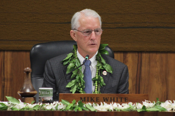 Mike White presides over the Maui County Council shortly after being re-elected as chairman Monday evening in Council Chambers. The meeting lasted from 2 p.m. Monday to around 3:30 a.m. Tuesday as council members listened to five hours of public testimony and worked to iron out leadership and staffing issues. The Maui News / COLLEEN UECHI photo