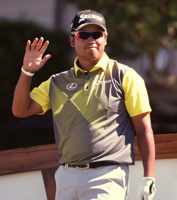 Hideki Matsuyama, shown before his round Friday, has three PGA Tour wins and eight others worldwide and leads the FedEx Cup standings.   The Maui News / MATTHEW THAYER photo