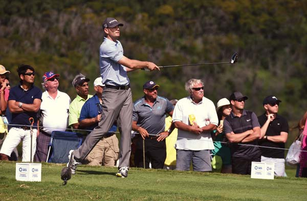 Brendan Steele hits off the 14th tee.   The Maui News / MATTHEW THAYER photo