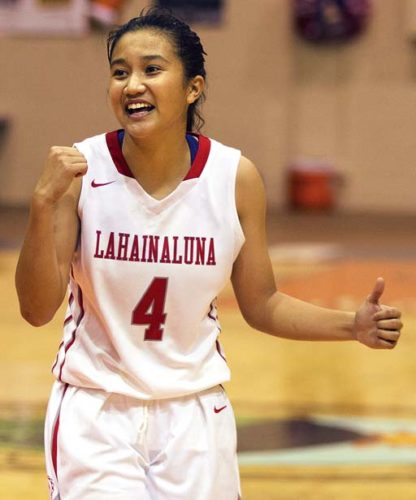 The Maui News / CHRIS SUGIDONO photo Lahainaluna's Braenna Estabillo celebrates a basket in the second quarter.