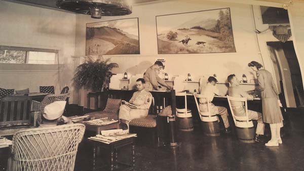 This photo shows the inside of The Crossroads USO in the 1940s. Makawao History Museum photo