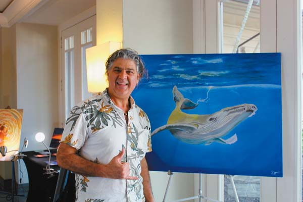 """""""Gold Whale"""" is an original oil on canvas by Jay Joya, who brings his work to top resorts and has his own gallery in Kihei.  CARLA TRACY photo"""