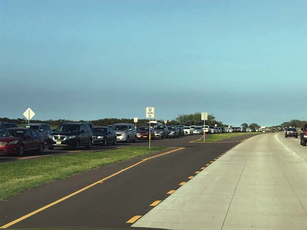Traffic is backed up in the Maalaea-bound lanes of Kuihelani Highway near the Honoapiilani Highway intersection around 4:30 p.m. Saturday. A near-fatal vehicle crash on Honoapiilani Highway caused traffic in both directions to back up for miles Saturday afternoon.   The Maui News / MELISSA TANJI photo