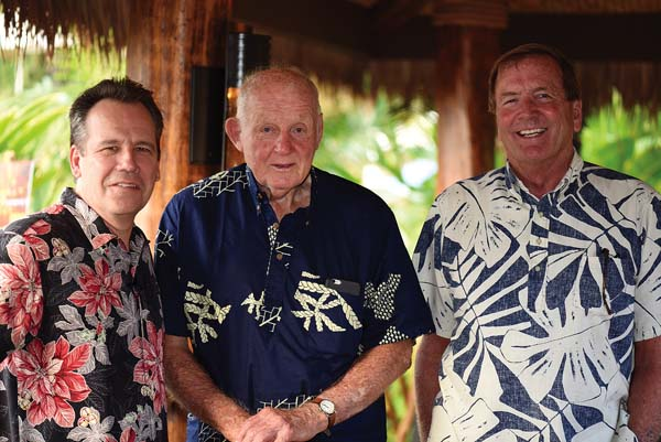 Grand Wailea Managing Director Tom Donovan (from left) celebrates Humuhumu's grand reopening with Pardee Erdman of Ulupalakua Ranch and MauiWine and pal Paul Meyer. Grand Wailea photo