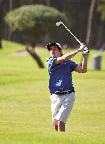 Maui High School's Marlon Bottorff follows through on a shot during the Sabers' win over Maui Prep on Wednesday at Waiehu Municipal Golf Course. The Maui News / MATTHEW THAYER photo