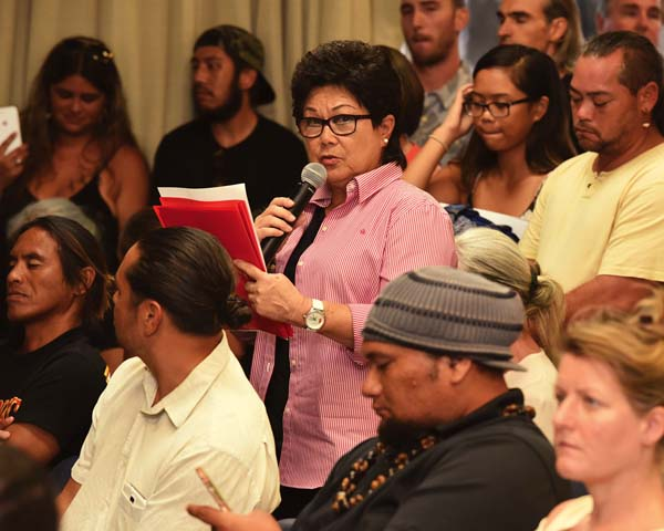 Alice Lee, a former County Council member, expressed the views of some Upcountry residents, farmers and ranchers, who were concerned about their water supply and rates if Alexander & Baldwin's request for a lease for water from East Maui streams was not approved. More than 130 people attended the public meeting at the Maui Electric Co. conference room to give testimony on A&B's application to the state Board of Land and Natural Resources. The Maui News / MATTHEW THAYER photo