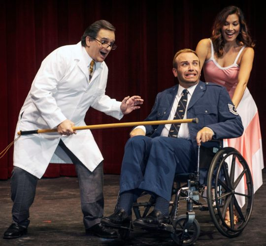 "Performances of ""Dirty Rotten Scoundrels,"" featuring Steven Dascoulias (from left), Ross Young and Lia Krieg-De Souza, will be at 7:30 p.m. Fridays and Saturdays, and at 3 p.m. Sundays this week through March 19 at the Historic Iao Theater in Wailuku. Tickets range from $20 to $40 and are available by calling 242-6969 or online at www.mauionstage.com. • Brett Wulfson photo"