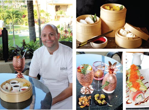 Photos clockwise from left: The resort's Executive Chef Craig Dryhurst is transporting Oahu's Chinatown to Maui with dim sum on Saturday nights in the Lobby Lounge. Sushi is also on a roll and the new Maui Gold vodka cocktail stays icy cold in fun copper glasses. • Four Seasons photo (top right) and Carla Tracy photos