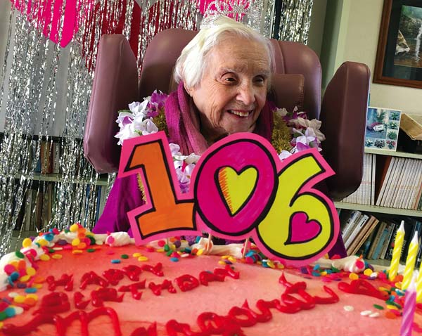 Margaret O'Connor opened gifts, cards, blew out her (limited) candles on her birthday cake (although she did say she could handle all 106 candles) and enjoyed a large bowl of ice cream and a handcrafted latte.