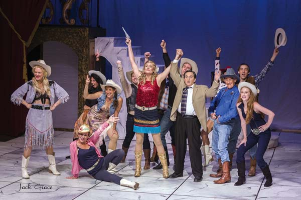 "Laura Cole (center, red shirt), Steven Dascoulias (tan jacket) and fellow cast members wrap up ""Oklahoma?"" in the Maui OnStage production of ""Dirty Rotten Scoundrels."" JACK GRACE photo"