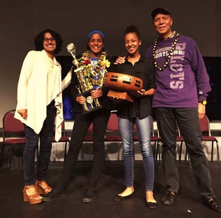 Emmanuel Lutheran School 7th-grader Leela Waterford (second from left) is the 2017 Kama'aina Kids Hawaii State Spelling Bee champion and advances to the Scripps National Spelling Bee in Washington, D.C. Pictured with her at New Hope Oahu at Sand Island on Friday night are her parents, Anita (left) and Randy Waterford, and older sister Ameera.
