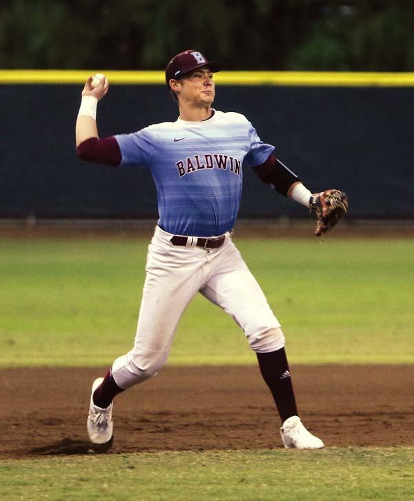 Baldwin's Nigel Mayfield makes a first-inning throw.   The Maui News / CHRIS SUGIDONO photo