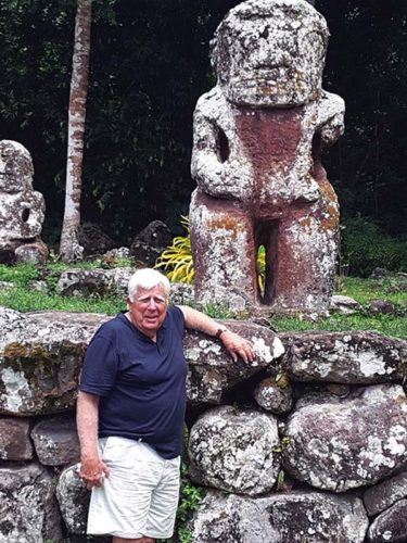 """The artist visits an archeological site hidden in the jungles of the Marquesas Islands on his recent """"bucket-list"""" vacation. -- Photo courtesy Diane Lane"""