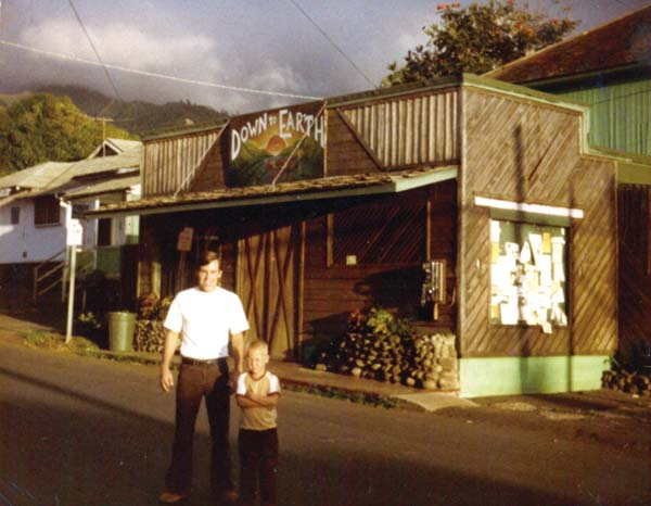 Who remembers the original Down to Earth in Wailuku? Former manager Bobby Lent and son stand in front of the old store that opened in 1977. -- Down to Earth archival photo