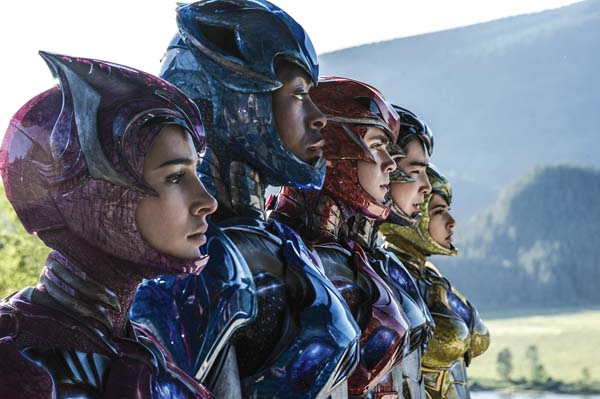 "Naomi Scott (from left), RJ Cyler, Dacre Montgomery, Ludi Lin and Becky G star in ""Power Rangers."" Lionsgate photo via AP"