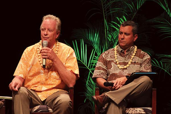 Jeffrey Pearson (left), deputy director of the state Commission on Water Resource Management, touches on food security, water and energy with Rick Volner, general manager of Hawaiian Commercial & Sugar Co., during a panel discussion Wednesday at the Maui Energy Conference at the Maui Arts & Cultural Center. The Maui News / COLLEEN UECHI photo