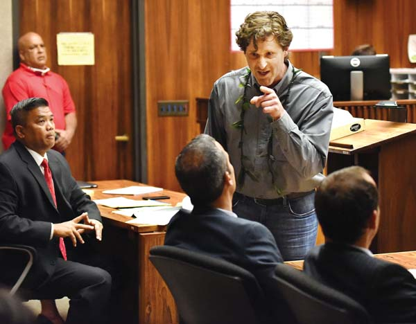"Robert Scott, father of Carly ""Charli"" Scott, points toward defense attorney Jon Apo at the conclusion of his statement in 2nd Circuit Court on Friday during the sentencing of convicted killer Steven Capobianco. Scott expressed anger over some of the questions posed by Apo to the victim's sisters. He was removed from the courtroom. -- The Maui News / MATTHEW THAYER photo"