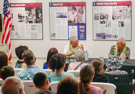 Harold Okumura (left) and Masao Motooka shared their memories of World War II during the first nisei veterans speaker's series March 11 hosted by the Nisei Veterans Memorial Center in Kahului. -- MELANIE AGRABANTE photo