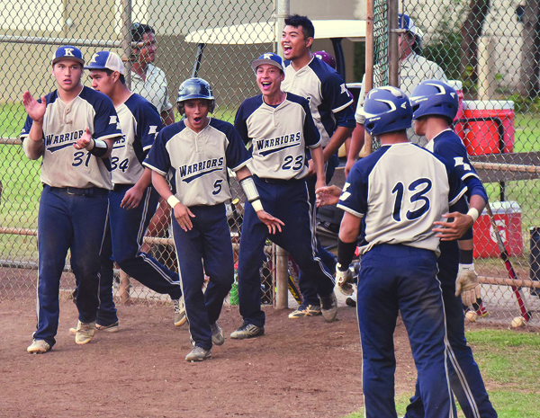 Kamehameha Maui players celebrate after their 4-3, come-from-behind win over King Kekaulike on Tuesday. • The Maui News / MATTHEW THAYER photo