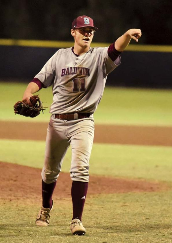 The Bears' Nigel Mayfield celebrates after getting the final out. The Maui News / MATTHEW THAYER photo