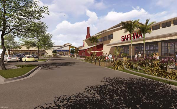 An artist's rendering shows the Safeway entrance at the Lahaina Cannery Mall. The mall has launched an $18 million renovation project that would nearly double the size of the grocery store. Lahaina Cannery Mall photo