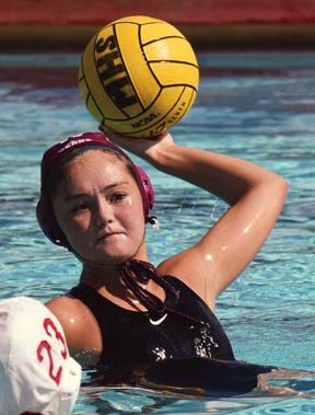 Kayla Takakura of Baldwin High School looks to pass during the fourth quarter of a 10-5 victory over Lahainaluna on Sat- urday in the Maui Interscholas- tic League tournament champion- ship match at Kihei Aquatic Center.  -- The Maui News / MATTHEW THAYER photo