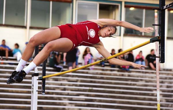 Lahainaluna High School's Maygan Patch clears 10 feet on her way to a winning height of 10-6 in the Maui Interscholastic League championships Friday at Yamamoto Track and Field Facility. -- The Maui News / MATTHEW THAYER photo