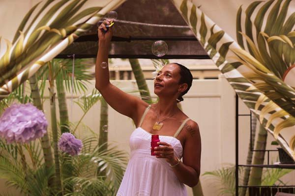Kema Jamal fills the air with bubbles at the Maui Holistic Garden Center in Kihei, a place that's helped her find peace and healing after the years of assault and abuse she's overcome. As Sexual Assault Awareness Month draws to a close, Jamal is speaking frankly and honestly of her experience. -- The Maui News / COLLEEN UECHI photo