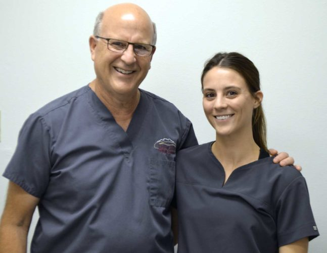 -Messenger photo by Joe Sutter Dr. Nicholas Drzycimski, left, has been joined at Rolling Hills Dental Clinic by his daughter, Dr. Maria Drzycimski, who graduated from Creighton University this spring.