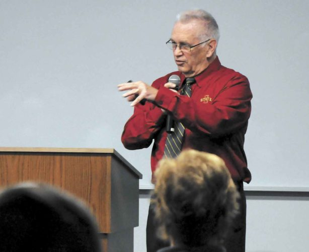 -Messenger photo by Joe Sutter   ISU Climatologist Elwynn Taylor explains the outlook for 2017, what kinds of factors may cause drought, and why the next 20 years may see much more volatile fluctuations in crop yields than the last 18. Taylor was a featured speaker on the final day of the annual Farm News Ag Show at the Iowa Central Community College East Campus.