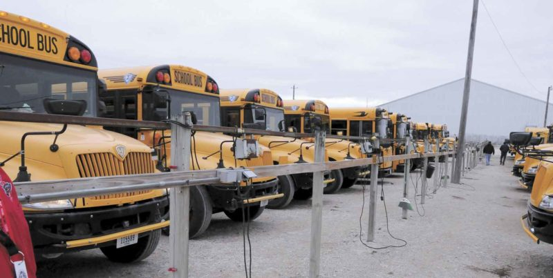 -Messenger photo by Chad Thompson  School buses, shown here at the Fort Dodge Community School District Transportation Department, 1624 31st Ave. N., are unlikely to have seat belts added to them anytime soon, according to Stu Cochrane, president of the FDCSD board. Cochrane said he is not opposed to having the discussion, but that studies have shown school buses to be the safest mode of transportation without seat belts.