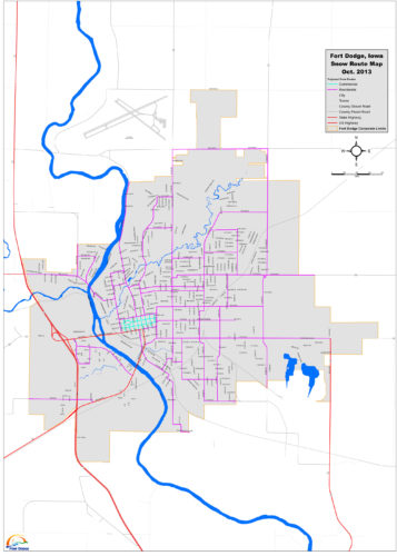Emergency snow routes in Fort Dodge are marked.