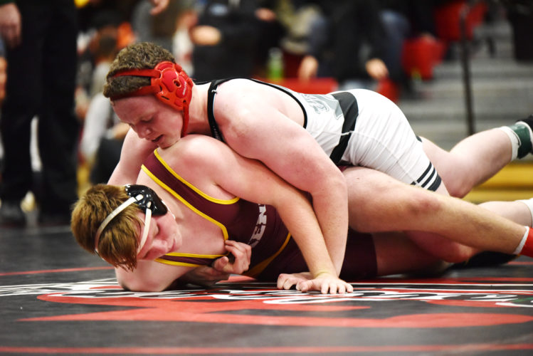 Messenger photo by Britt Kudla  Fort Dodge's Kaden Smith, shown here last week against Ankeny, defeated No. 7 Austin Lamm of Urbandale at 170 pounds on Thursday night.